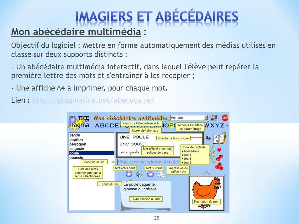 Mon abécédaire multimédia : Objectif du logiciel : Mettre en forme automatiquement des médias utilisés en classe sur deux supports distincts : - Un ab