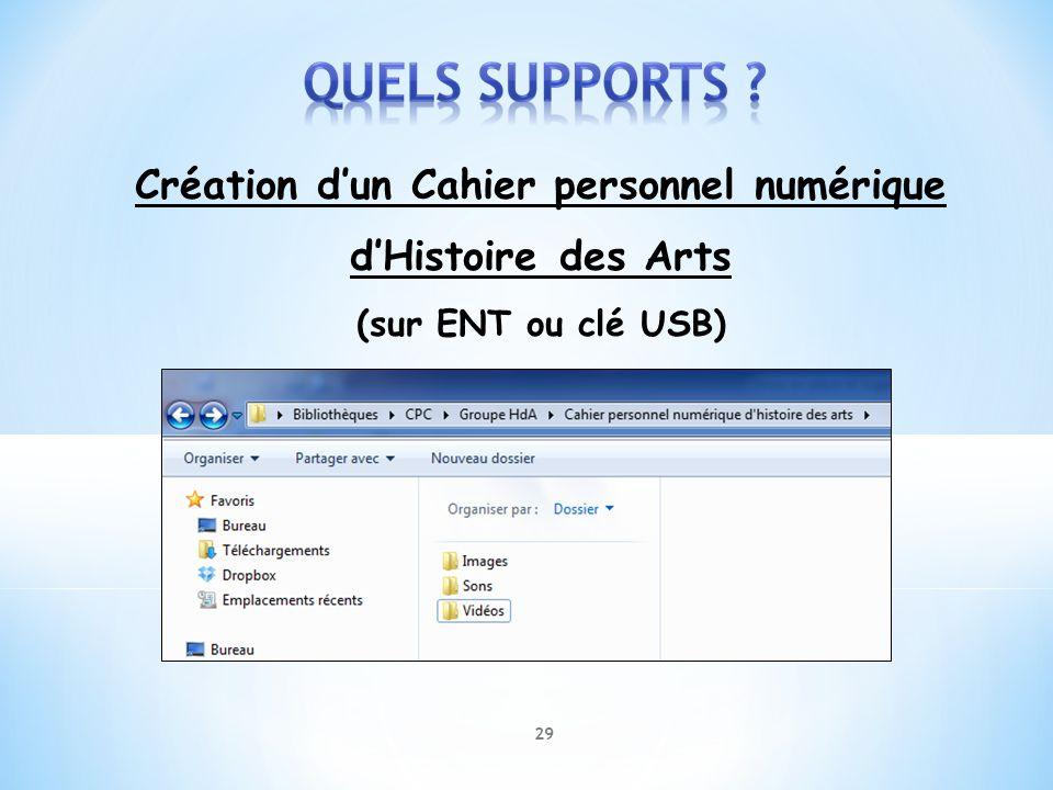 Création dun Cahier personnel numérique dHistoire des Arts (sur ENT ou clé USB) 29