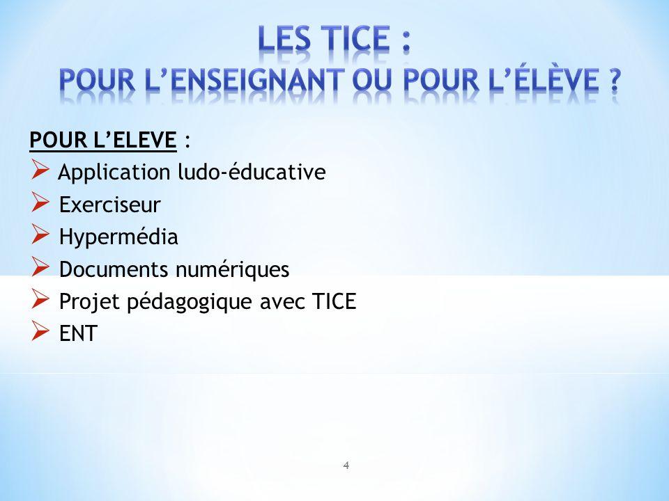 POUR LELEVE : Application ludo-éducative Exerciseur Hypermédia Documents numériques Projet pédagogique avec TICE ENT 4