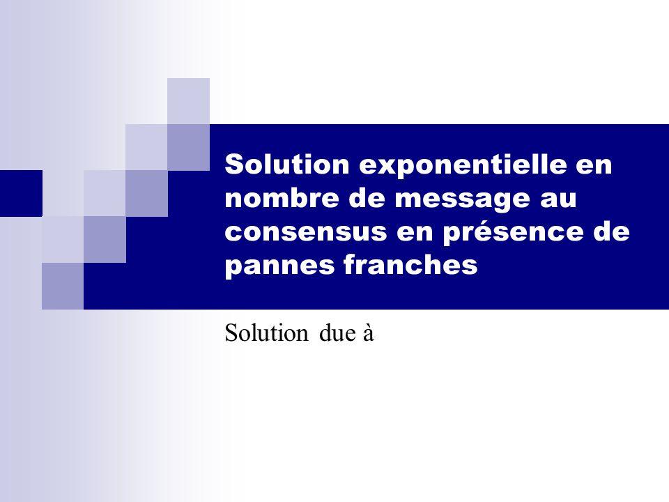 Solution exponentielle en nombre de message au consensus en présence de pannes franches Solution due à
