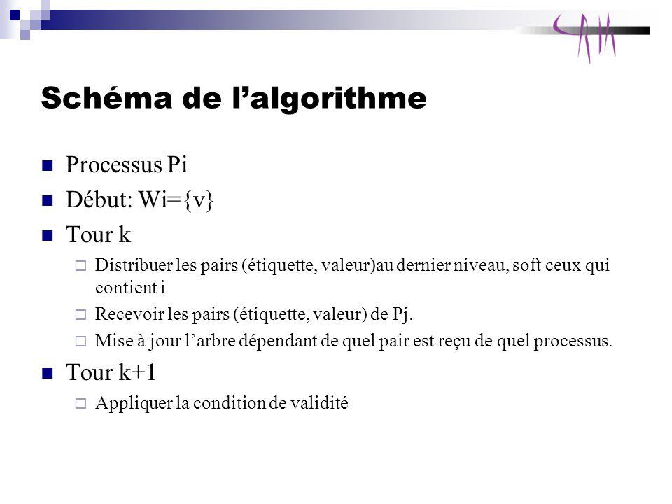 Schéma de lalgorithme Processus Pi Début: Wi={v} Tour k Distribuer les pairs (étiquette, valeur)au dernier niveau, soft ceux qui contient i Recevoir les pairs (étiquette, valeur) de Pj.
