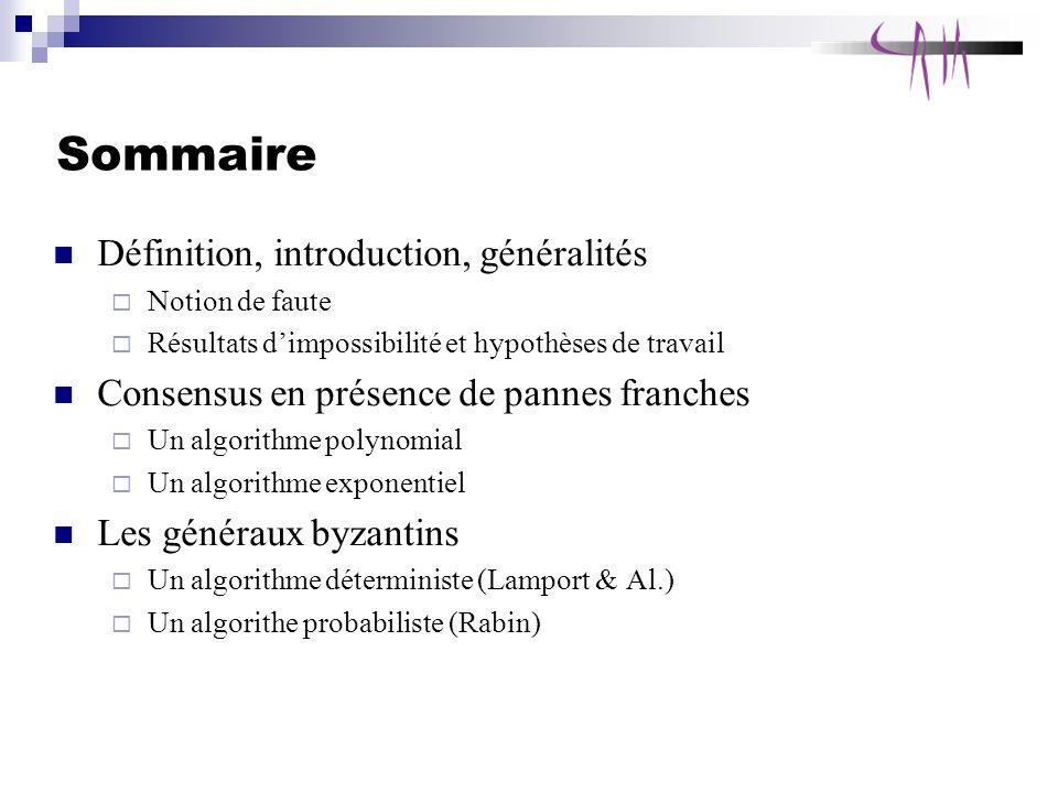 Introduction Problème fondamental Brique de base pour les applications Notion de fautes et hyp.