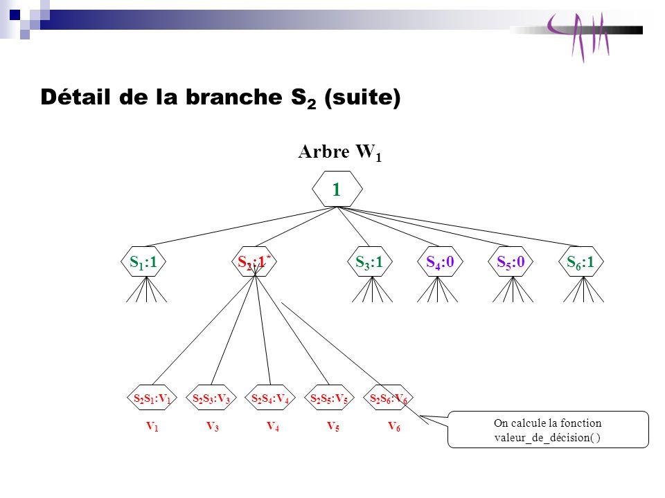 Détail de la branche S 2 (suite) Arbre W 1 1 S 1 :1 S 2 :1 * S 3 :1S 4 :0S 5 :0S 6 :1 S 2 S 1 :V 1 S 2 S 4 :V 4 S 2 S 3 :V 3 S 2 S 5 :V 5 S 2 S 6 :V 6 V1V1 V3V3 V4V4 V5V5 V6V6 On calcule la fonction valeur_de_décision( )