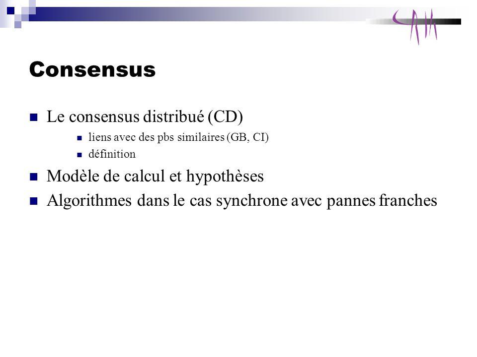 Consensus Le consensus distribué (CD) liens avec des pbs similaires (GB, CI) définition Modèle de calcul et hypothèses Algorithmes dans le cas synchrone avec pannes franches