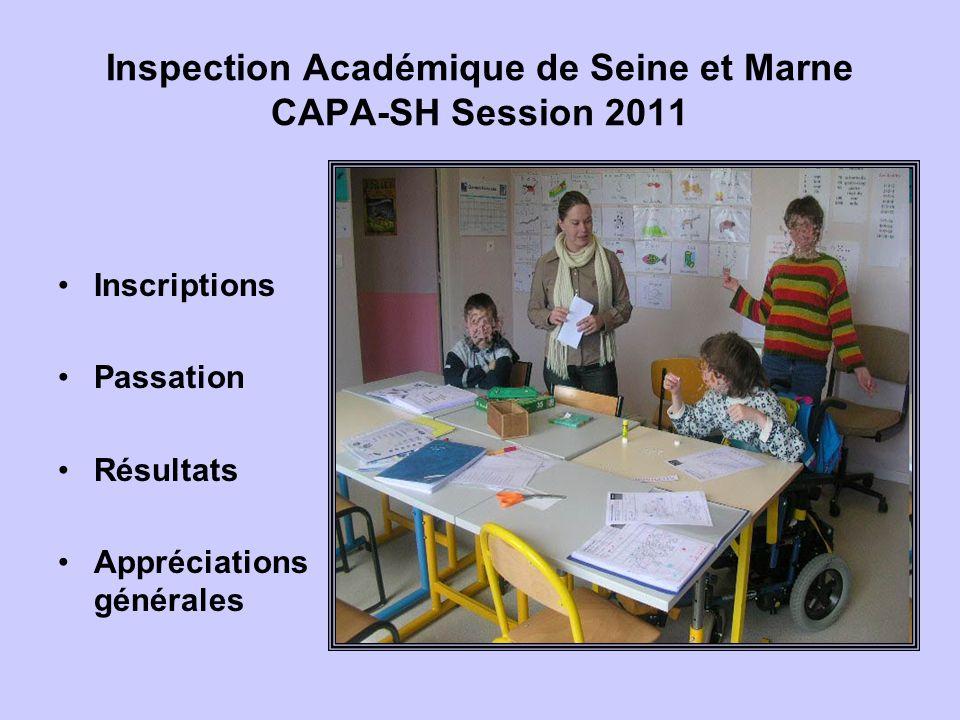 Inspection Académique de Seine et Marne CAPA-SH Session 2011 Inscriptions Passation Résultats Appréciations générales