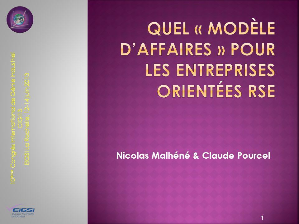 10 ème Congrès International de Génie Industriel CIGI13 EIGSI La Rochelle, 12-14 juin 2013 Nicolas Malhéné & Claude Pourcel 1