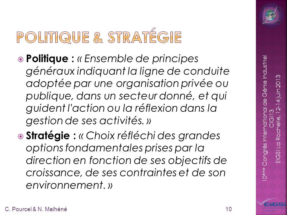 10 ème Congrès International de Génie Industriel CIGI13 EIGSI La Rochelle, 12-14 juin 2013 Politique : « Ensemble de principes généraux indiquant la l