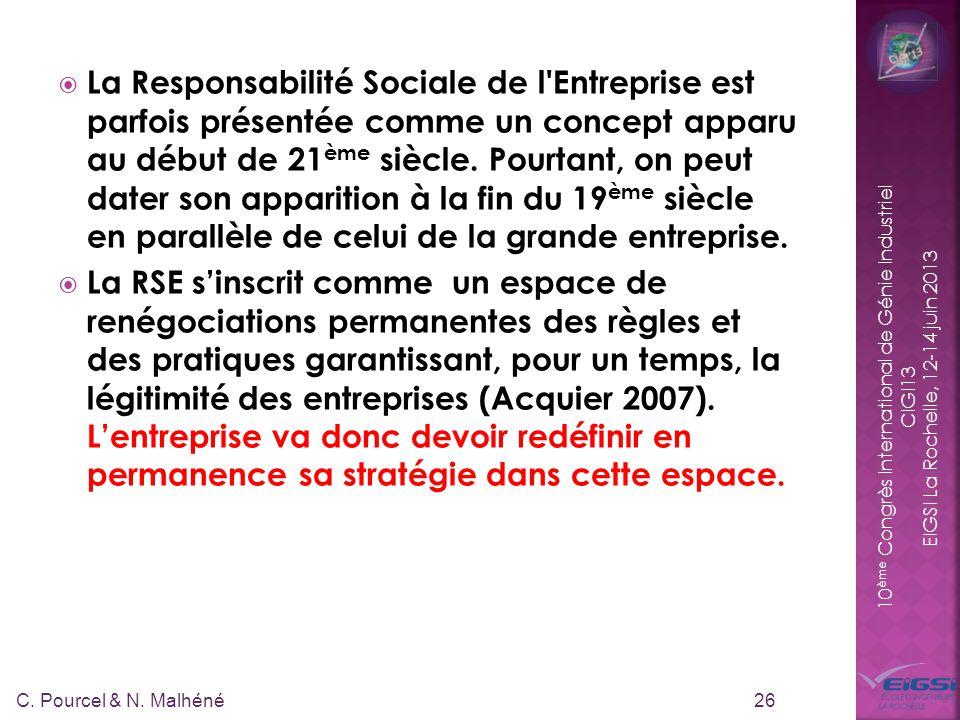 10 ème Congrès International de Génie Industriel CIGI13 EIGSI La Rochelle, 12-14 juin 2013 La Responsabilité Sociale de l'Entreprise est parfois prése