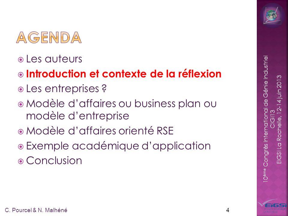 10 ème Congrès International de Génie Industriel CIGI13 EIGSI La Rochelle, 12-14 juin 2013 15 C.