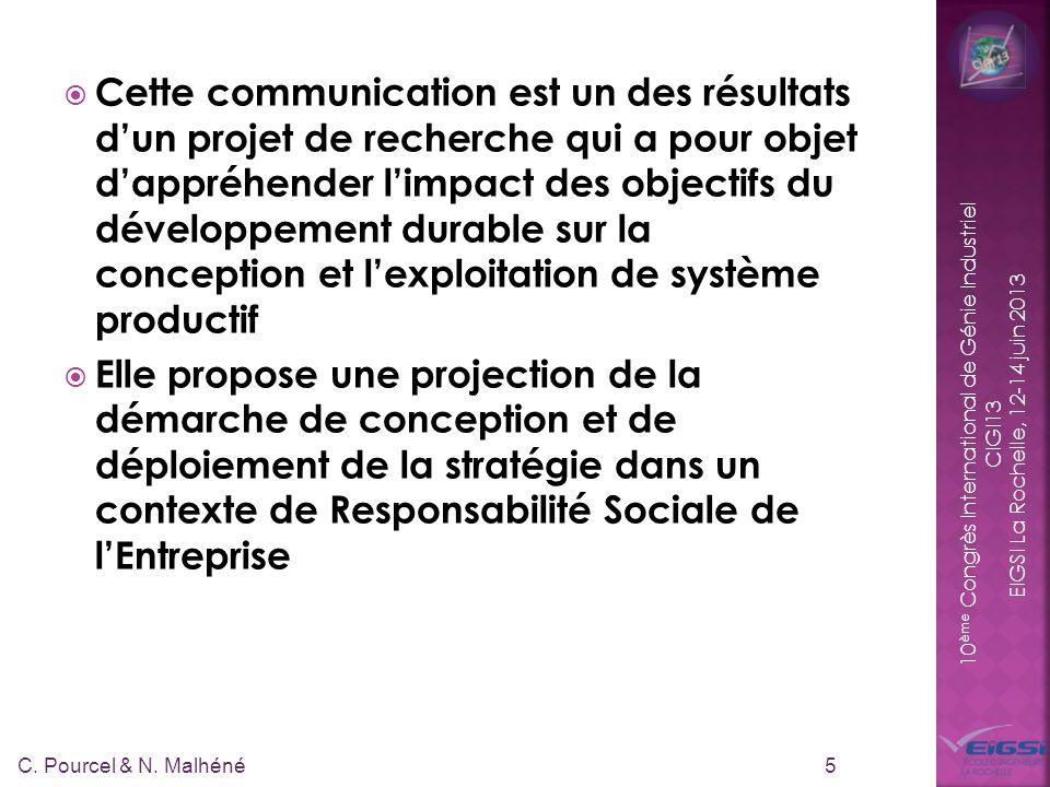 10 ème Congrès International de Génie Industriel CIGI13 EIGSI La Rochelle, 12-14 juin 2013 Cette communication est un des résultats dun projet de recherche qui a pour objet dappréhender limpact des objectifs du développement durable sur la conception et lexploitation de système productif Elle propose une projection de la démarche de conception et de déploiement de la stratégie dans un contexte de Responsabilité Sociale de lEntreprise 5 C.