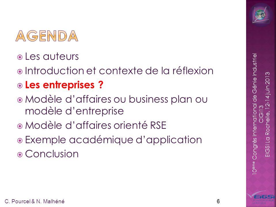 10 ème Congrès International de Génie Industriel CIGI13 EIGSI La Rochelle, 12-14 juin 2013 27 C.