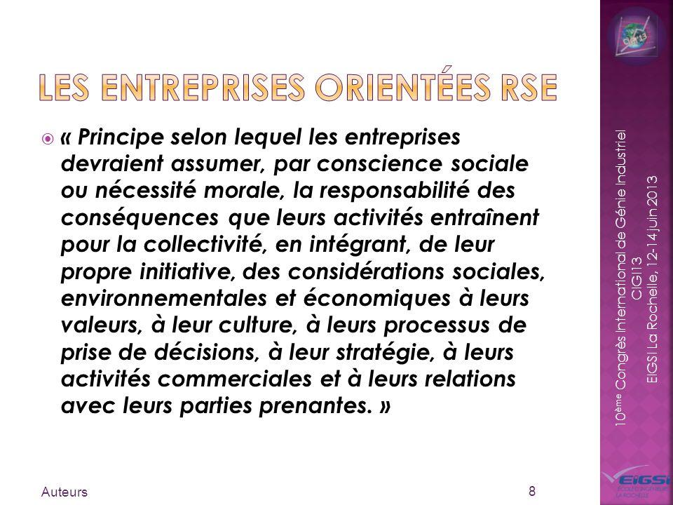 10 ème Congrès International de Génie Industriel CIGI13 EIGSI La Rochelle, 12-14 juin 2013 « Principe selon lequel les entreprises devraient assumer,