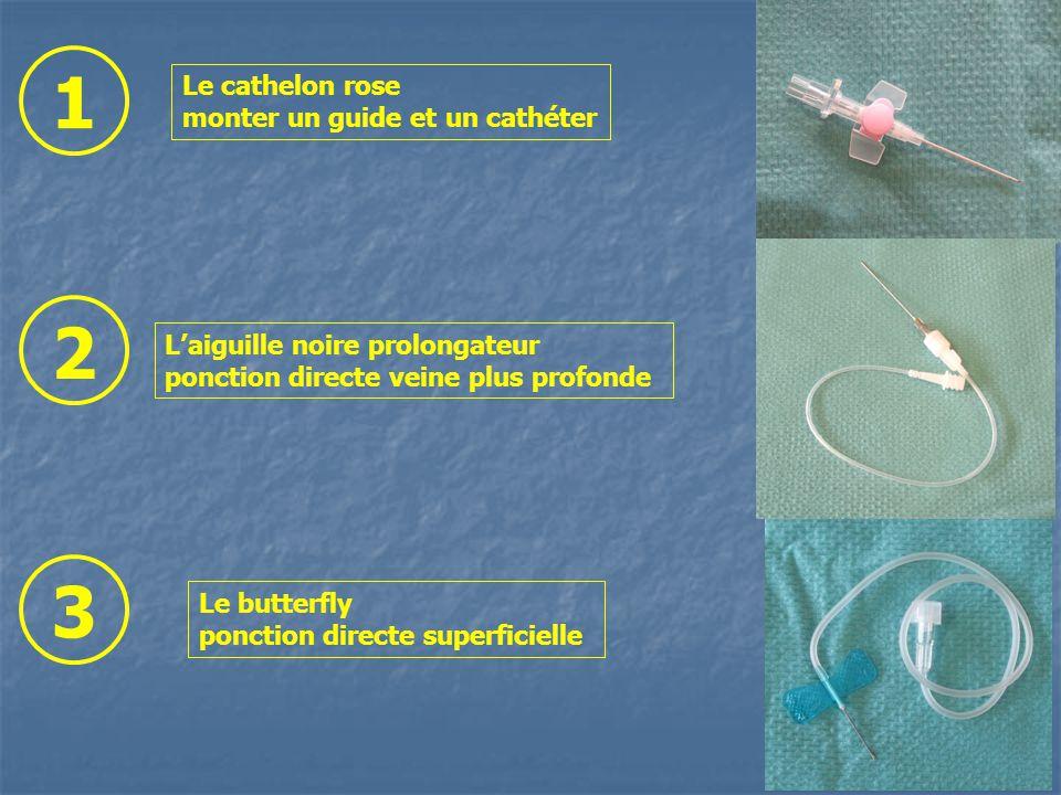 Le cathelon rose monter un guide et un cathéter Le butterfly ponction directe superficielle Laiguille noire prolongateur ponction directe veine plus profonde 1 2 3
