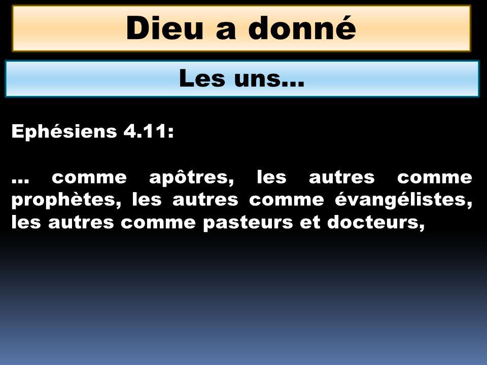 Dieu a donné Les uns… Ephésiens 4.11: … comme apôtres, les autres comme prophètes, les autres comme évangélistes, les autres comme pasteurs et docteur