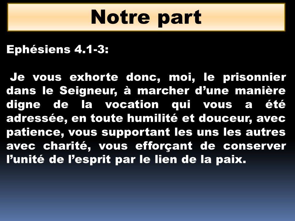 Notre part Ephésiens 4.1-3: Je vous exhorte donc, moi, le prisonnier dans le Seigneur, à marcher dune manière digne de la vocation qui vous a été adre