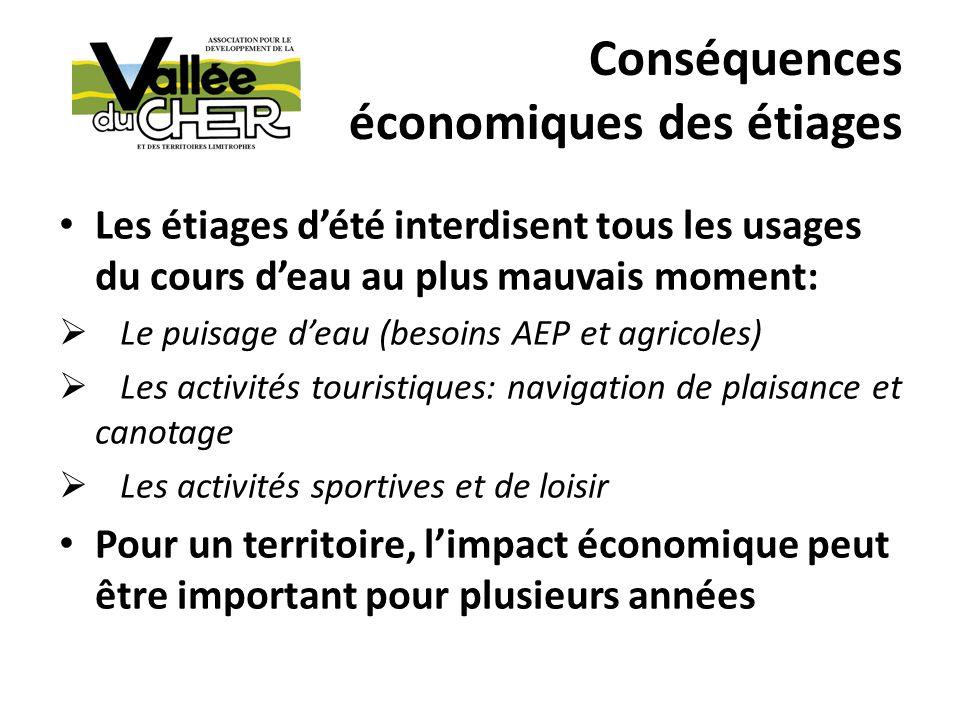 Conséquences écologiques des étiages Le bassin de la Loire est soumis à une « occurrence détiages plus marqués et plus longs » (1) Les étiages dété conduisent: à une augmentation de la température à un appauvrissement doxygène Les étiages dété provoquent: Une mortalité accrue des espèces de poissons sédentaires et migratrices (période de la dévalaison) Une croissance accrue des plantes invasives (1) PROJET PLAGEPOMI 2014-2019