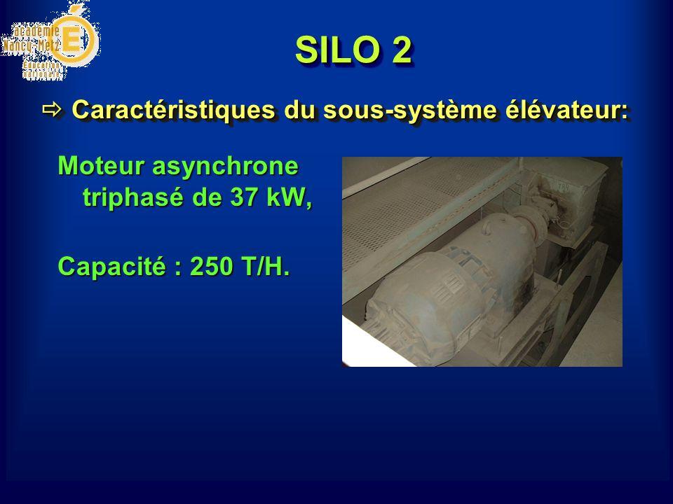 SILO 2 Moteur asynchrone triphasé de 37 kW, Capacité : 250 T/H. Caractéristiques du sous-système élévateur: Caractéristiques du sous-système élévateur