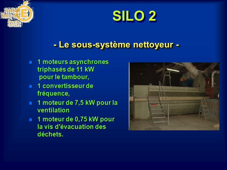 SILO 2 - Le sous-système nettoyeur - n 1 moteurs asynchrones triphasés de 11 kW pour le tambour, n 1 convertisseur de fréquence, n 1 moteur de 7,5 kW pour la ventilation n 1 moteur de 0,75 kW pour la vis d évacuation des déchets.
