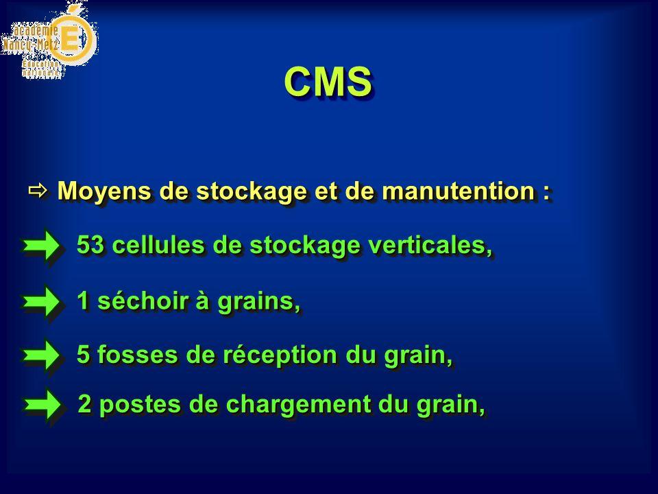 CMSCMS 53 cellules de stockage verticales, 1 séchoir à grains, Moyens de stockage et de manutention : Moyens de stockage et de manutention : 5 fosses de réception du grain, 2 postes de chargement du grain,