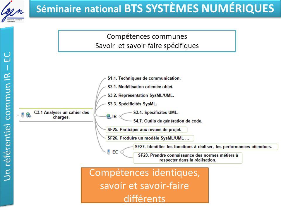 Eléments de constat Séminaire national BTS SYSTÈMES NUMÉRIQUES Compétences communes Savoir et savoir-faire spécifiques Compétences identiques, savoir