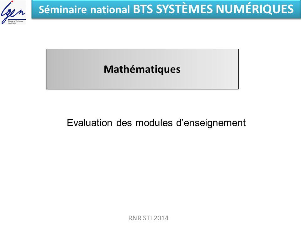 Séminaire national BTS SYSTÈMES NUMÉRIQUES Mathématiques RNR STI 2014 Evaluation des modules denseignement