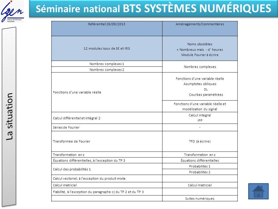 Eléments de constat Séminaire national BTS SYSTÈMES NUMÉRIQUES Référentiel 26/09/2013Aménagements/Commentaires 12 modules issus de SE et IRIS Noms obs