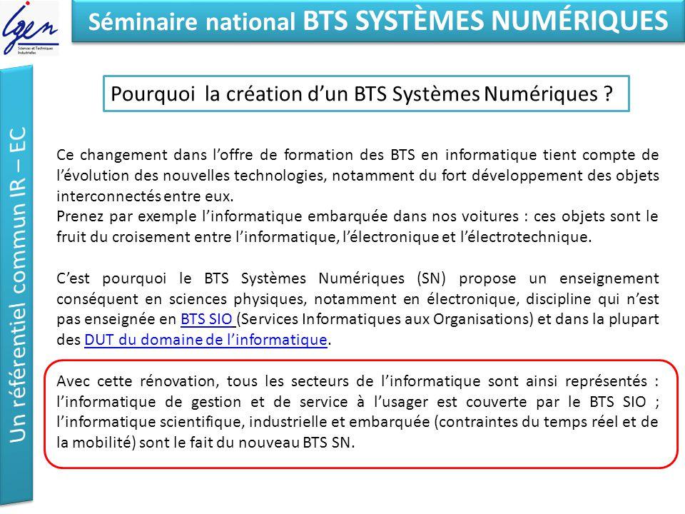 Eléments de constat Séminaire national BTS SYSTÈMES NUMÉRIQUES Pourquoi la création dun BTS Systèmes Numériques ? Ce changement dans loffre de formati