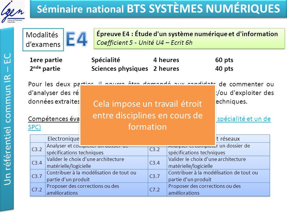 Eléments de constat Séminaire national BTS SYSTÈMES NUMÉRIQUES Modalités dexamens Épreuve E4 : Étude d'un système numérique et d'information Coefficie