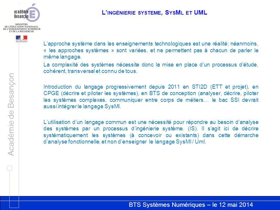 BTS Systèmes Numériques – le 12 mai 2014 Académie de Besançon L INGÉNIERIE SYSTEME, S YS M L ET UML Lapproche système dans les enseignements technolog