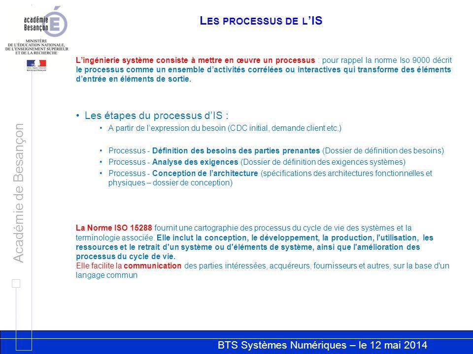 BTS Systèmes Numériques – le 12 mai 2014 Académie de Besançon L ES PROCESSUS DE L IS Lingénierie système consiste à mettre en œuvre un processus : pou