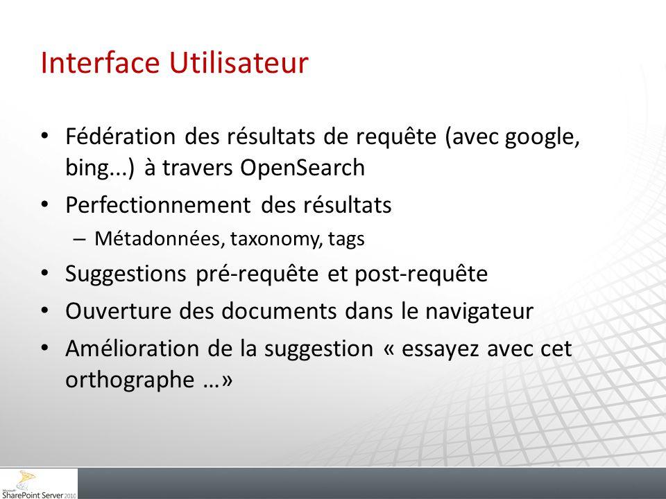 Interface Utilisateur Fédération des résultats de requête (avec google, bing...) à travers OpenSearch Perfectionnement des résultats – Métadonnées, ta
