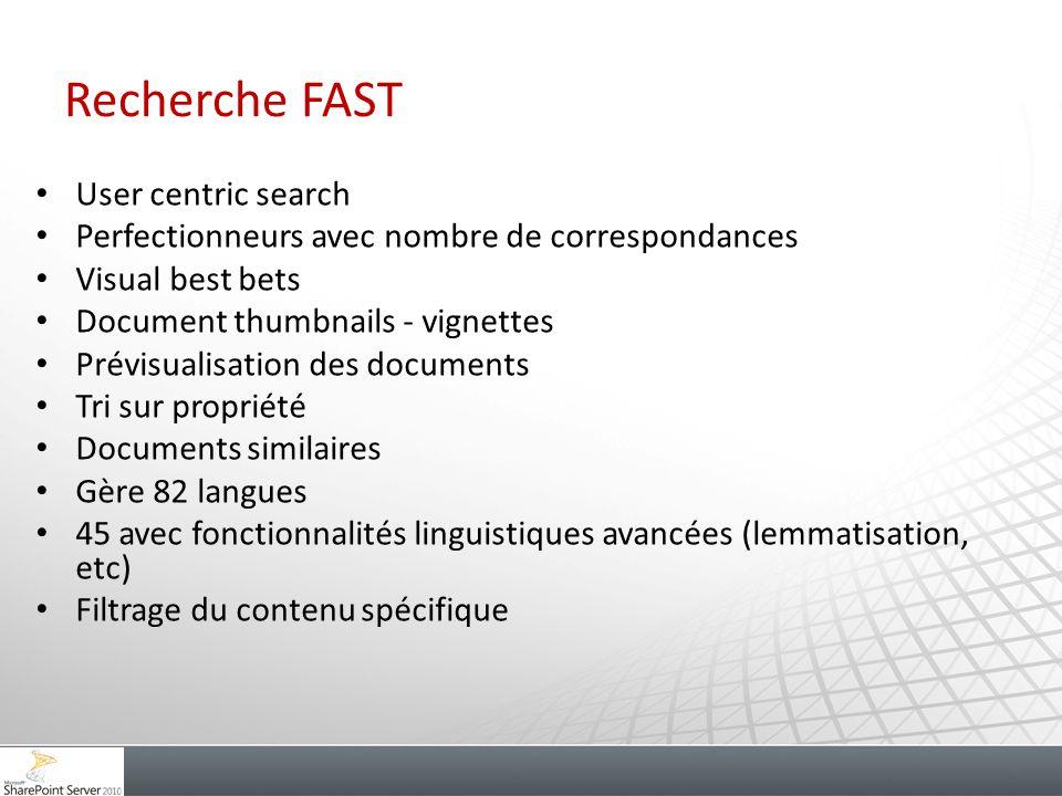 Recherche FAST User centric search Perfectionneurs avec nombre de correspondances Visual best bets Document thumbnails - vignettes Prévisualisation de