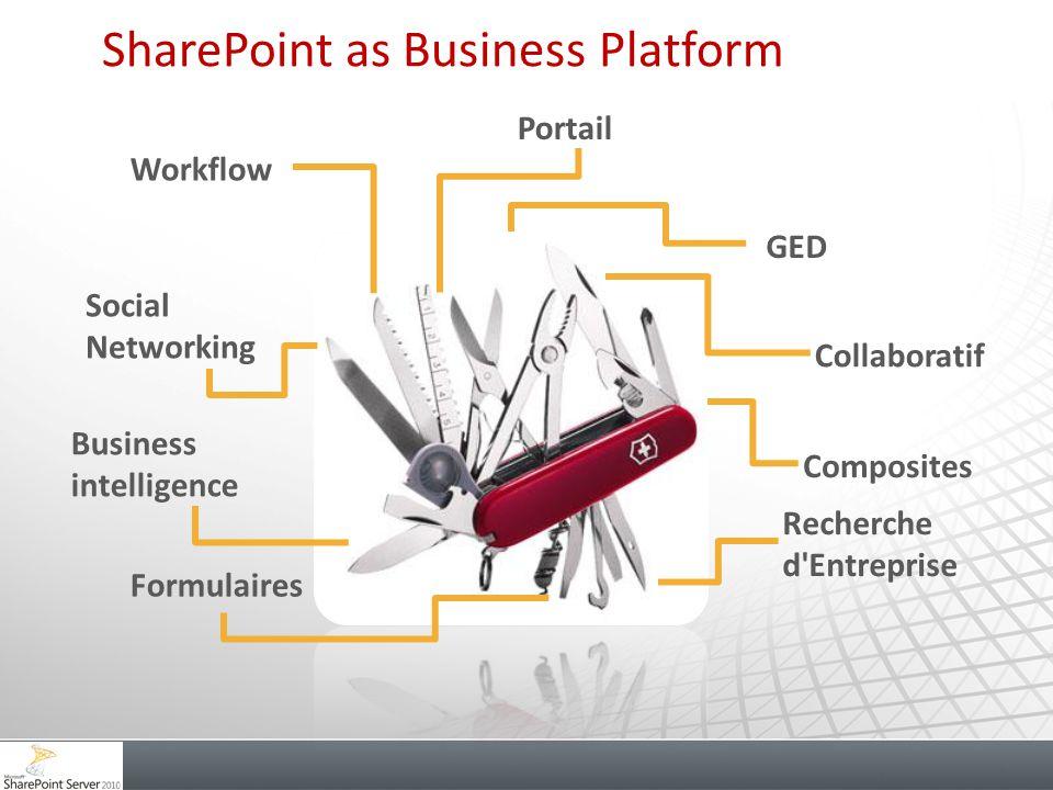 Workflow Social Networking Business intelligence GED Collaboratif Composites Recherche d'Entreprise Formulaires Portail SharePoint as Business Platfor