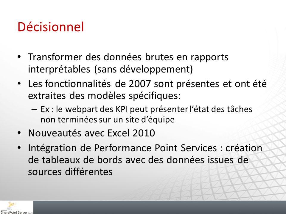 Décisionnel Transformer des données brutes en rapports interprétables (sans développement) Les fonctionnalités de 2007 sont présentes et ont été extra