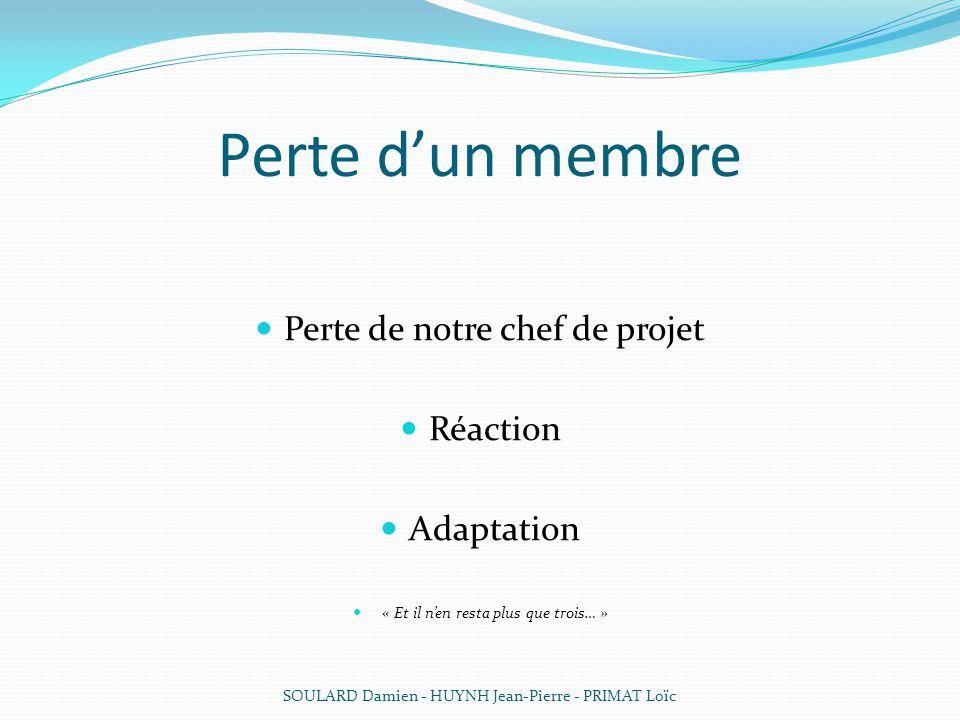 Perte dun membre Perte de notre chef de projet Réaction Adaptation « Et il nen resta plus que trois… » SOULARD Damien - HUYNH Jean-Pierre - PRIMAT Loï