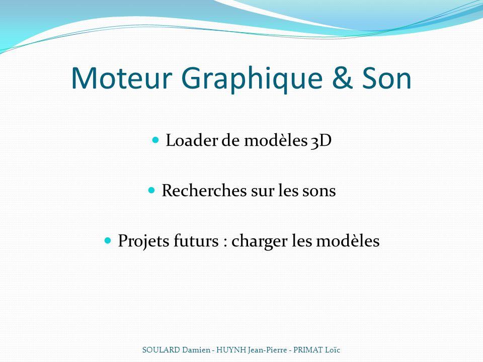 Moteur Graphique & Son Loader de modèles 3D Recherches sur les sons Projets futurs : charger les modèles SOULARD Damien - HUYNH Jean-Pierre - PRIMAT L