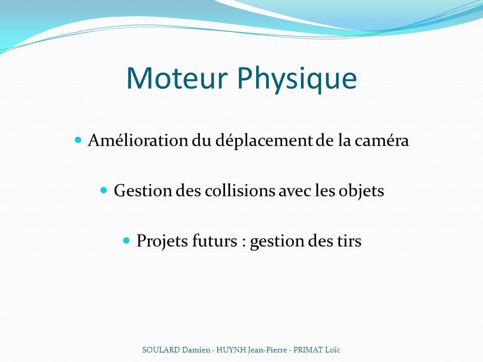 Moteur Physique Amélioration du déplacement de la caméra Gestion des collisions avec les objets Projets futurs : gestion des tirs SOULARD Damien - HUY