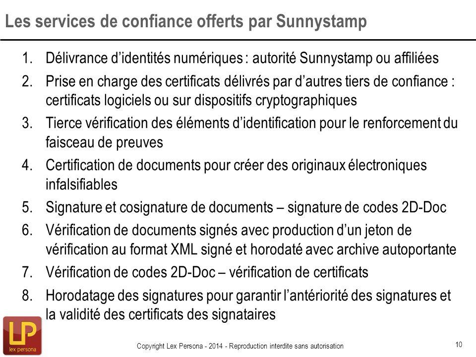 1.Délivrance didentités numériques : autorité Sunnystamp ou affiliées 2.Prise en charge des certificats délivrés par dautres tiers de confiance : cert