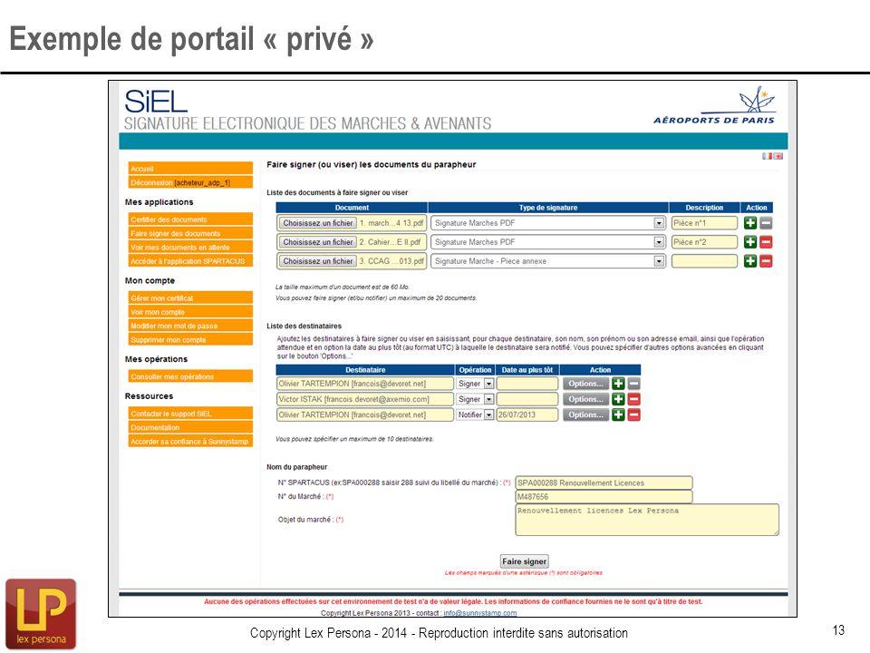 Exemple de portail « privé » 13 Copyright Lex Persona - 2014 - Reproduction interdite sans autorisation