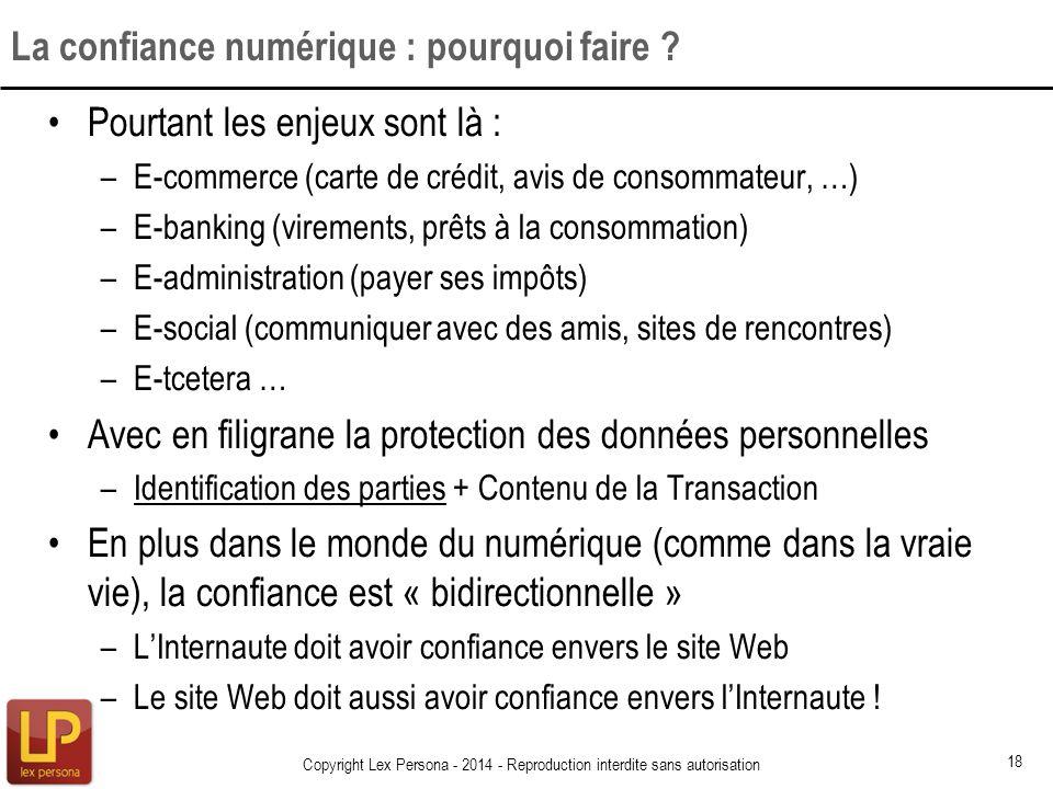 Pourtant les enjeux sont là : –E-commerce (carte de crédit, avis de consommateur, …) –E-banking (virements, prêts à la consommation) –E-administration