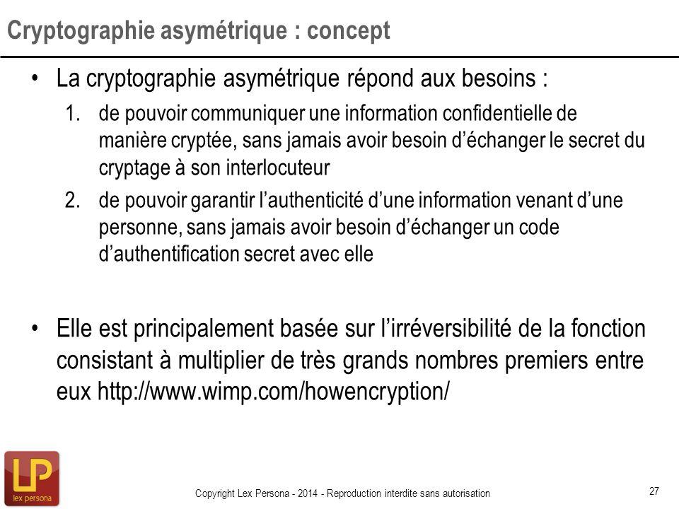 La cryptographie asymétrique répond aux besoins : 1.de pouvoir communiquer une information confidentielle de manière cryptée, sans jamais avoir besoin