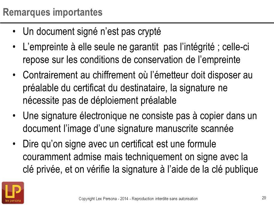Un document signé nest pas crypté Lempreinte à elle seule ne garantit pas lintégrité ; celle-ci repose sur les conditions de conservation de lempreint