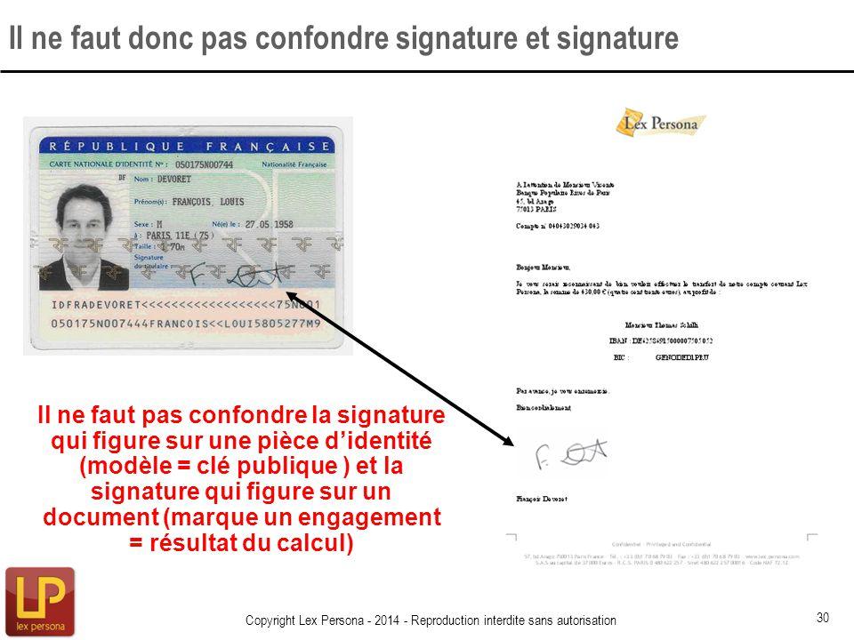 Il ne faut donc pas confondre signature et signature Copyright Lex Persona - 2014 - Reproduction interdite sans autorisation 30 Il ne faut pas confond