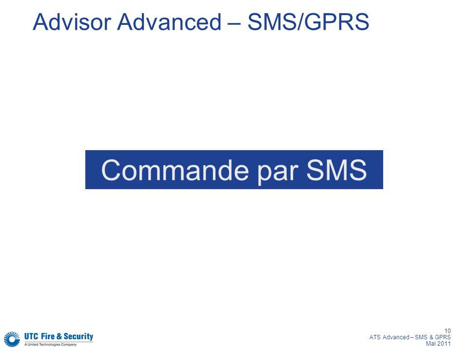 10 ATS Advanced – SMS & GPRS Mai 2011 Advisor Advanced – SMS/GPRS Commande par SMS