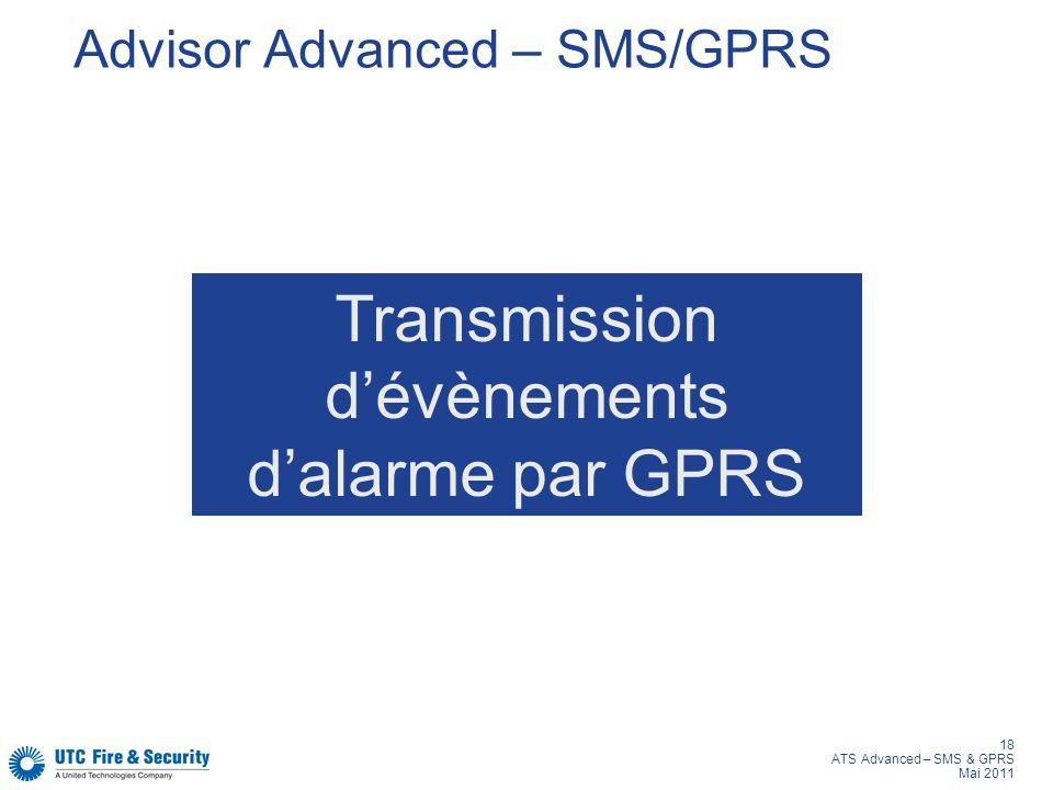 18 ATS Advanced – SMS & GPRS Mai 2011 Advisor Advanced – SMS/GPRS Transmission dévènements dalarme par GPRS