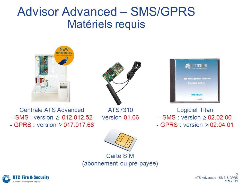 3 ATS Advanced – SMS & GPRS Mai 2011 Advisor Advanced – SMS/GPRS Matériels requis Centrale ATS Advanced - SMS : version 012.012.52 - GPRS : version 01