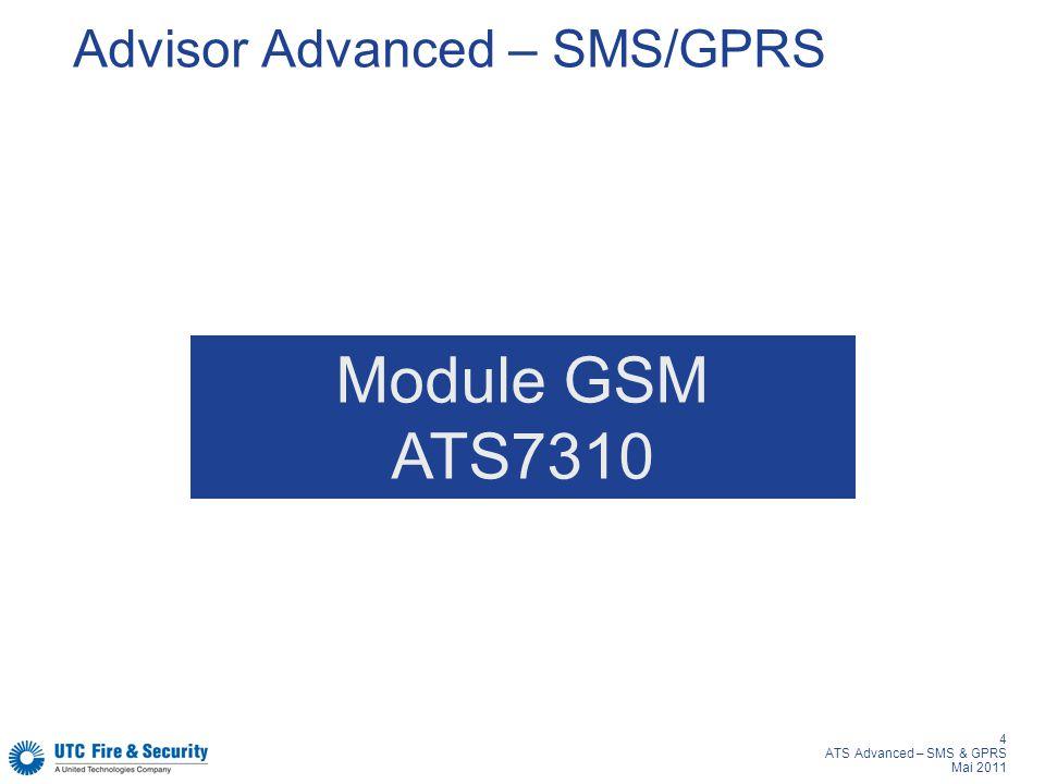 4 ATS Advanced – SMS & GPRS Mai 2011 Advisor Advanced – SMS/GPRS Module GSM ATS7310
