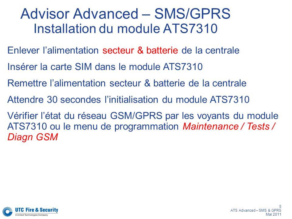 5 ATS Advanced – SMS & GPRS Mai 2011 Advisor Advanced – SMS/GPRS Installation du module ATS7310 Enlever lalimentation secteur & batterie de la central