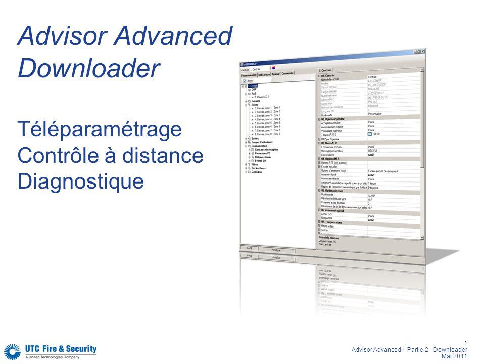 2 Advisor Advanced – Partie 2 - Downloader Mai 2011 Advisor Advanced Types de connexion Mini-USB pour configuration locale Internet ou réseau local Transmetteur téléphonique RJ45 Carte réseau 10/100 MBits (ATSx00A-MM-IP seulement)