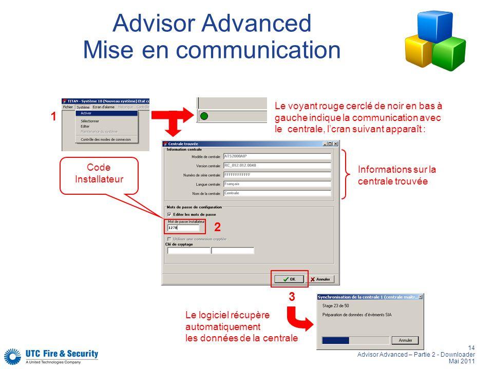 14 Advisor Advanced – Partie 2 - Downloader Mai 2011 Advisor Advanced Mise en communication 1 3 Code Installateur 2 Le logiciel récupère automatiqueme